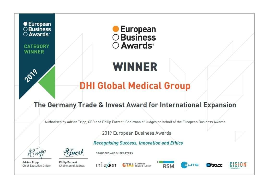 ΤοDHI Global Medical Groupαναδείχθηκε πρωταθλητής σταEuropean Business Awards 2019!